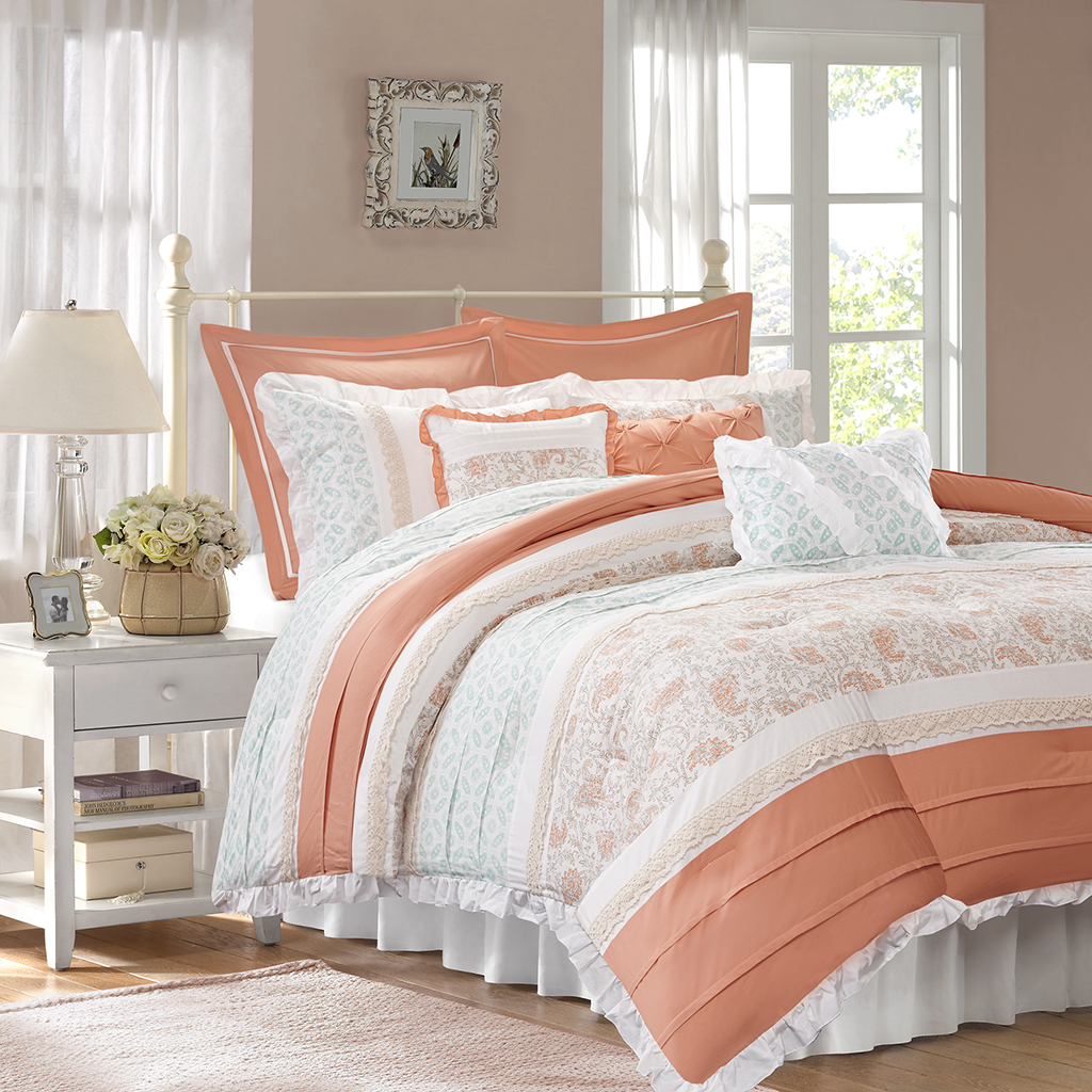 Madison Park - Dawn 9 Piece Cotton Percale Comforter Set - Coral - King