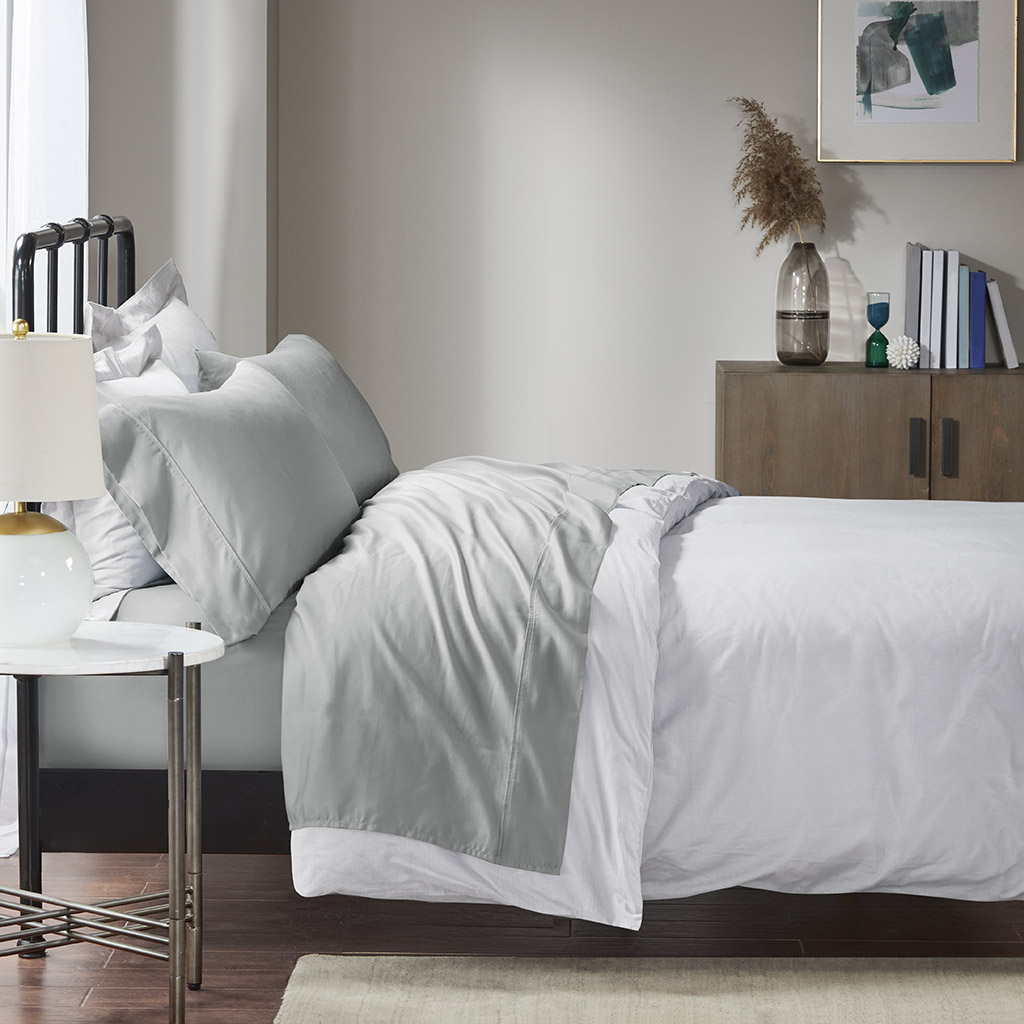 Madison Park - 1500 Thread Count Cotton Rich Sheet Set - Grey - Queen