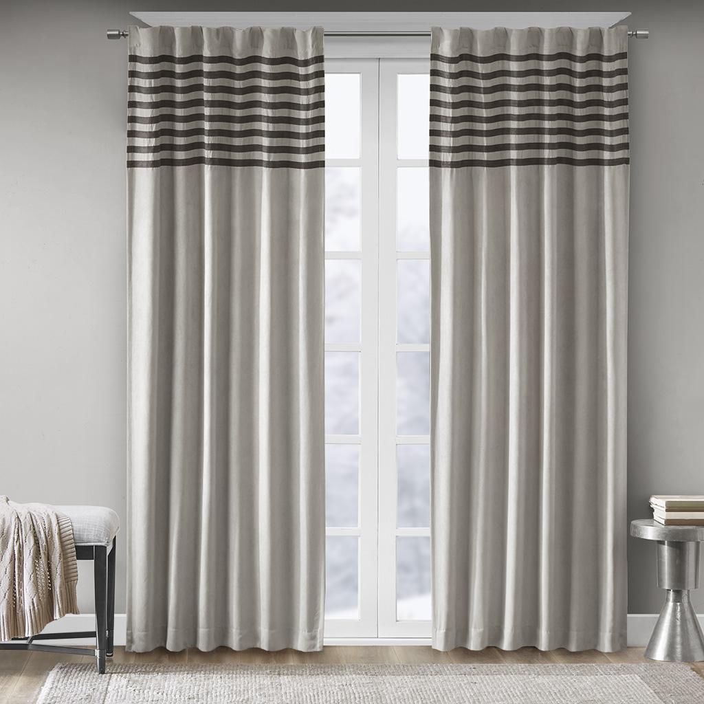 "Madison Park - Dune Window Curtain Pair - Grey - 84"" Panel"
