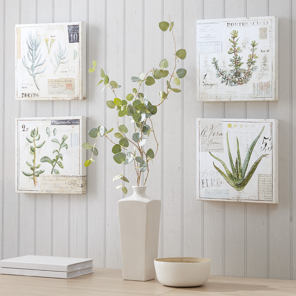 Madison Park - Botanical Terrace Printed Linen Square Canvas 4 Piece Set - Green - See below