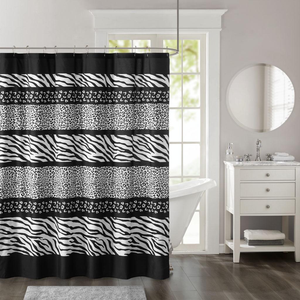 Madison Park - Zanzibar Printed Microfiber Shower Curtain - Black - 72x72
