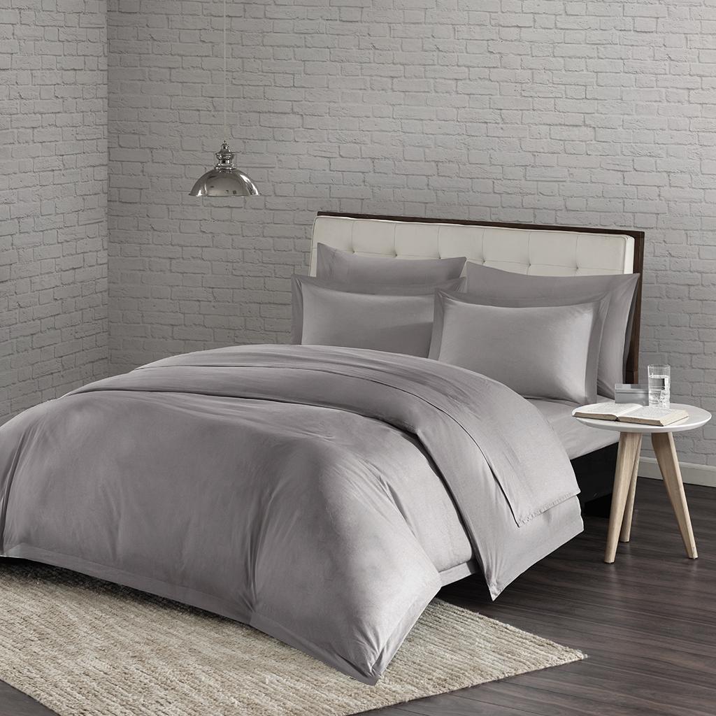 Urban Habitat - Comfort Wash Cotton Duvet Cover Mini Set - Grey - Full/Queen