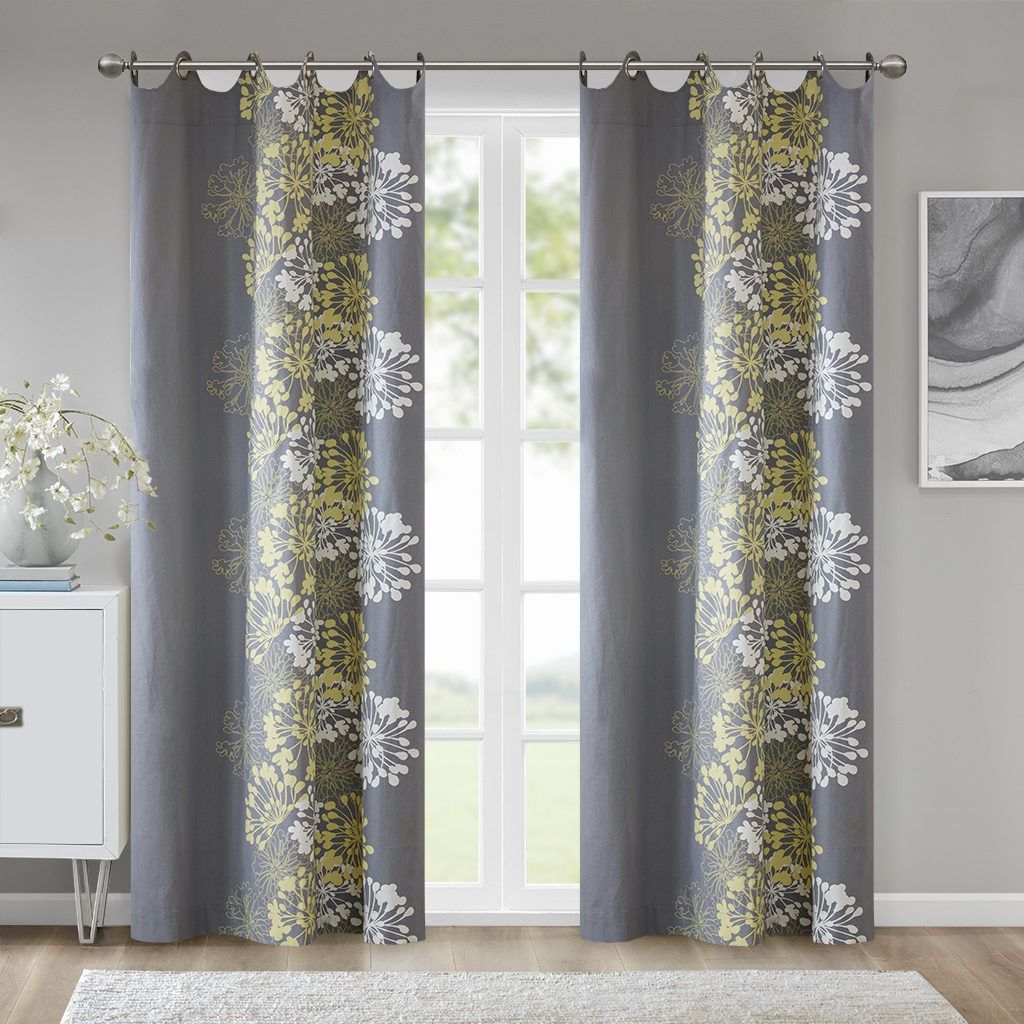 "Madison Park - Anaya Window Curtain - Grey/Yellow - 84"" Panel"