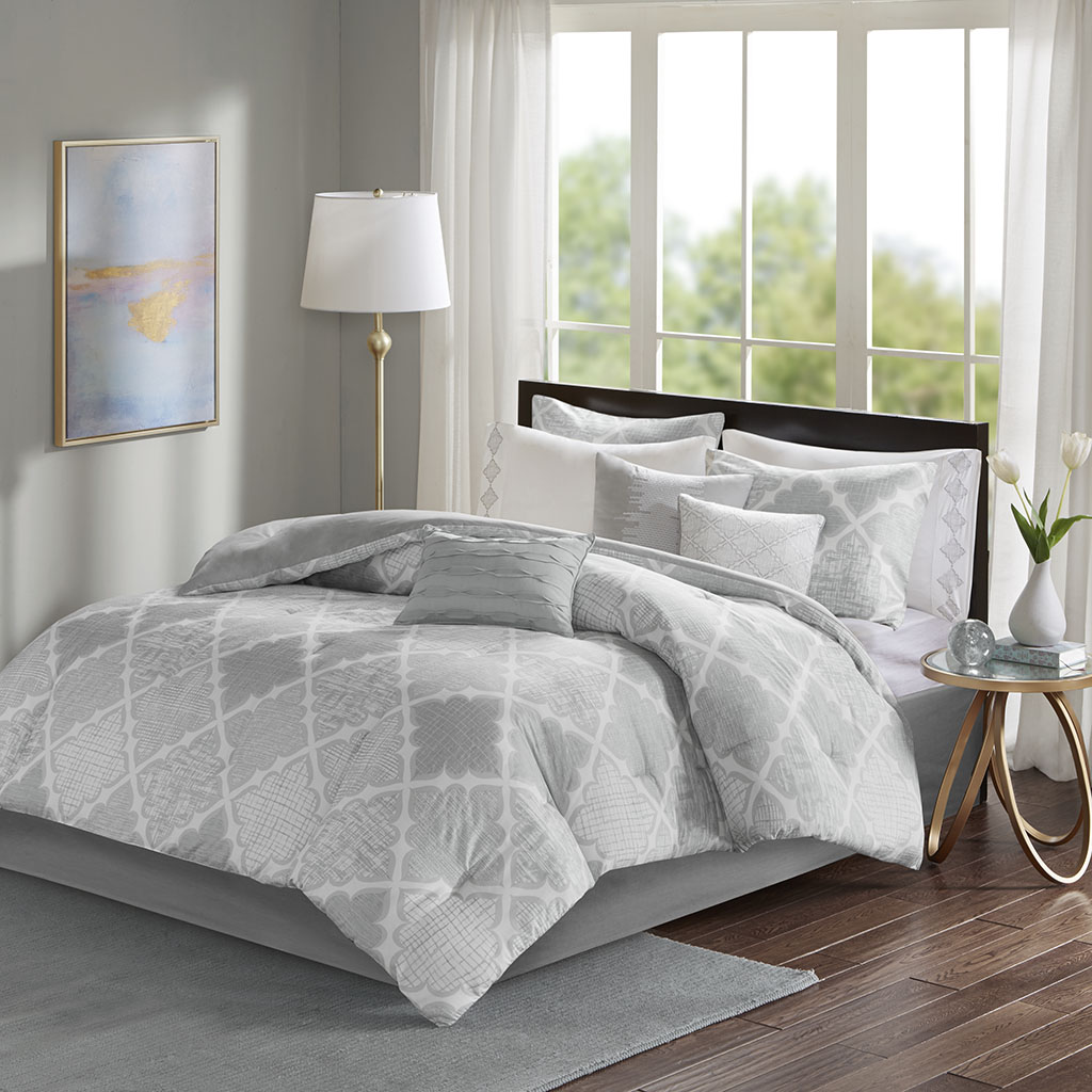 Madison Park - Cadence 9 Piece Cotton Sateen Comforter Set - Grey - King