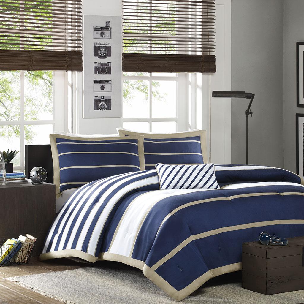 Mi Zone - Ashton Comforter Set - Navy - Twin/Twin XL