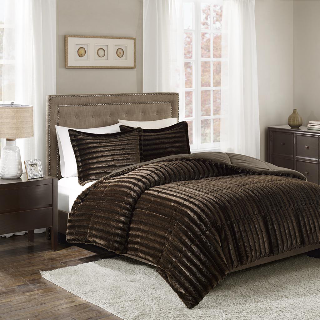 Madison Park - Duke Faux Fur 3 Piece Comforter Set - Chocolate - Full/Queen