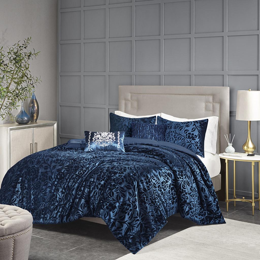 Madison Park - Irene 5 Piece Faux Velvet Comforter Set - Teal - Queen
