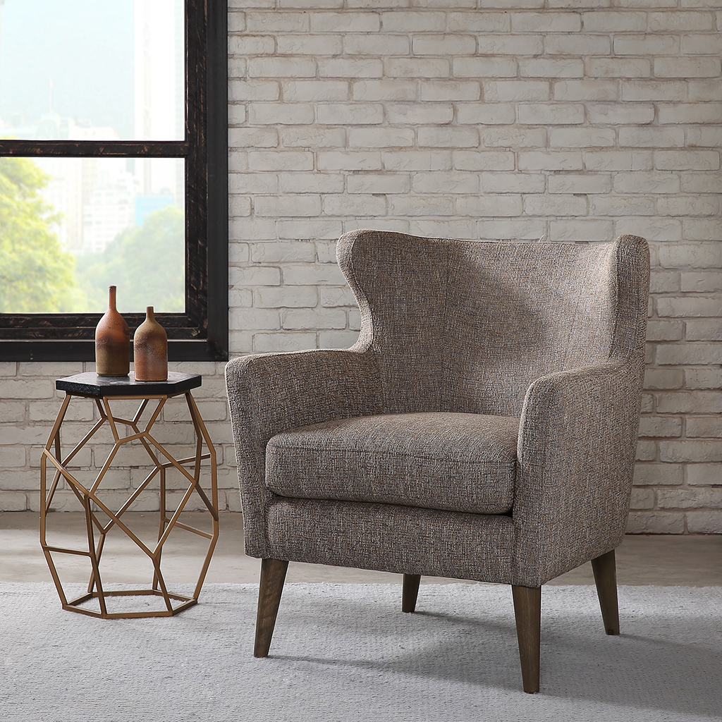 Frame Composition: Select Hardwoods and Plywood, Birch wood legs  Legs/Finish: Reclaimed Grey  Fabric Composition: 82% Polyester 18% Acrylic  Cushion: High Density Foam