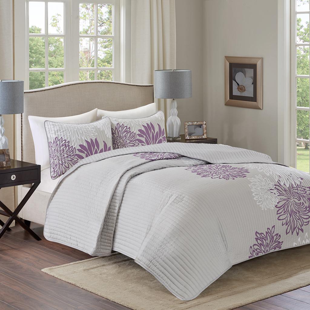 Comfort Spaces - Enya 3 Piece Reversible Coverlet Set - Purple - Full/Queen