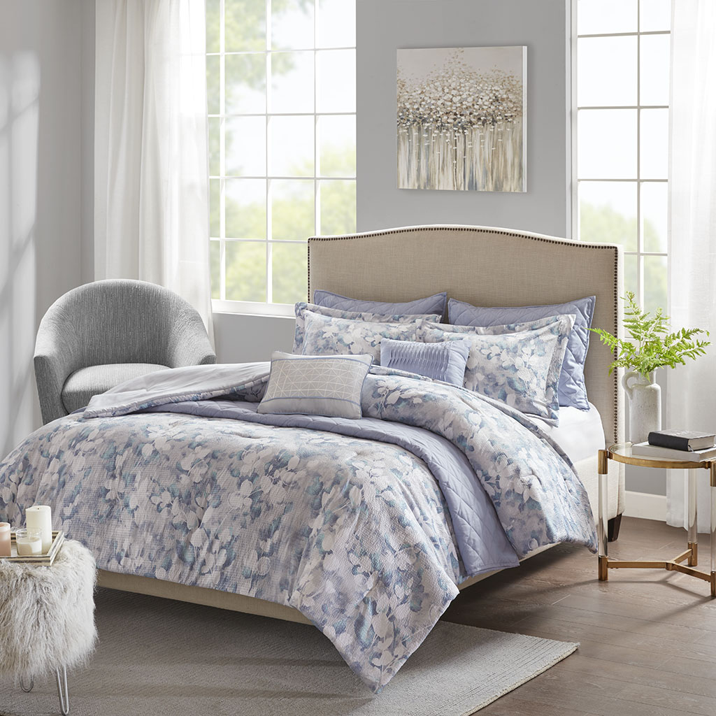 Madison Park - Erica 8 Piece Printed Seersucker Comforter and Coverlet Set Collection - Blue - King/Cal King