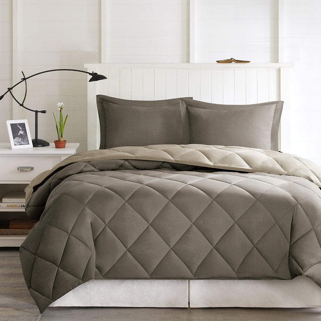 Madison Park Essentials - Larkspur 3M Scotchgard Diamond Quilting Reversible Down Alternative Comforter Set - Brown/Sand - Full/Queen