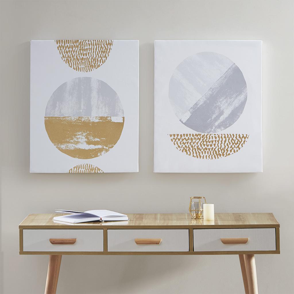 Urban Habitat - Metallic Moon Gold Foil Geometric 2 Piece Canvas Set Hand Embellished - Grey/Gold - See below