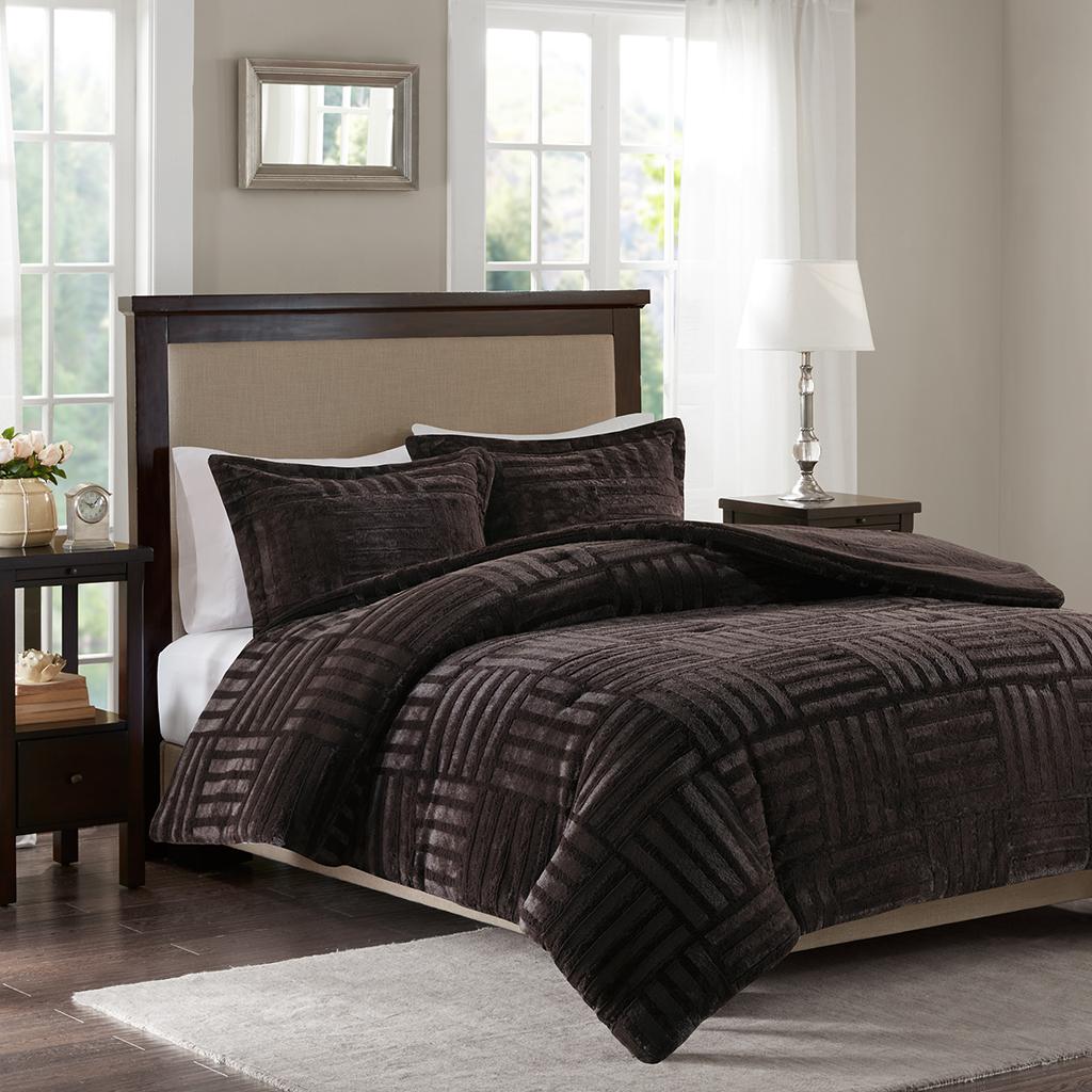 Madison Park - Arctic Fur Down Alternative Comforter Mini Set - Chocolate - Full/Queen