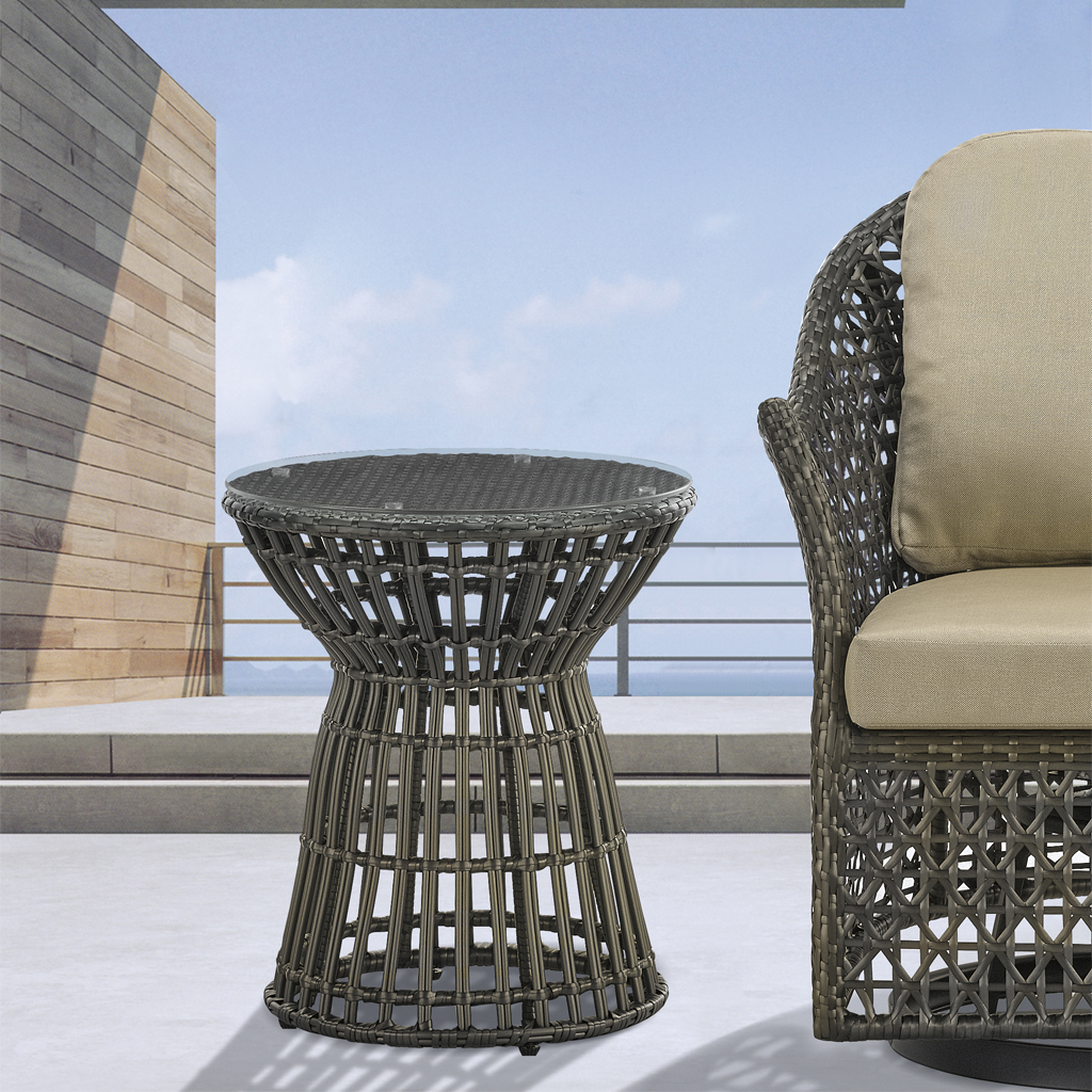 Madison Park - Corrynn Wicker Outdoor Accent Table - Bronze - See below
