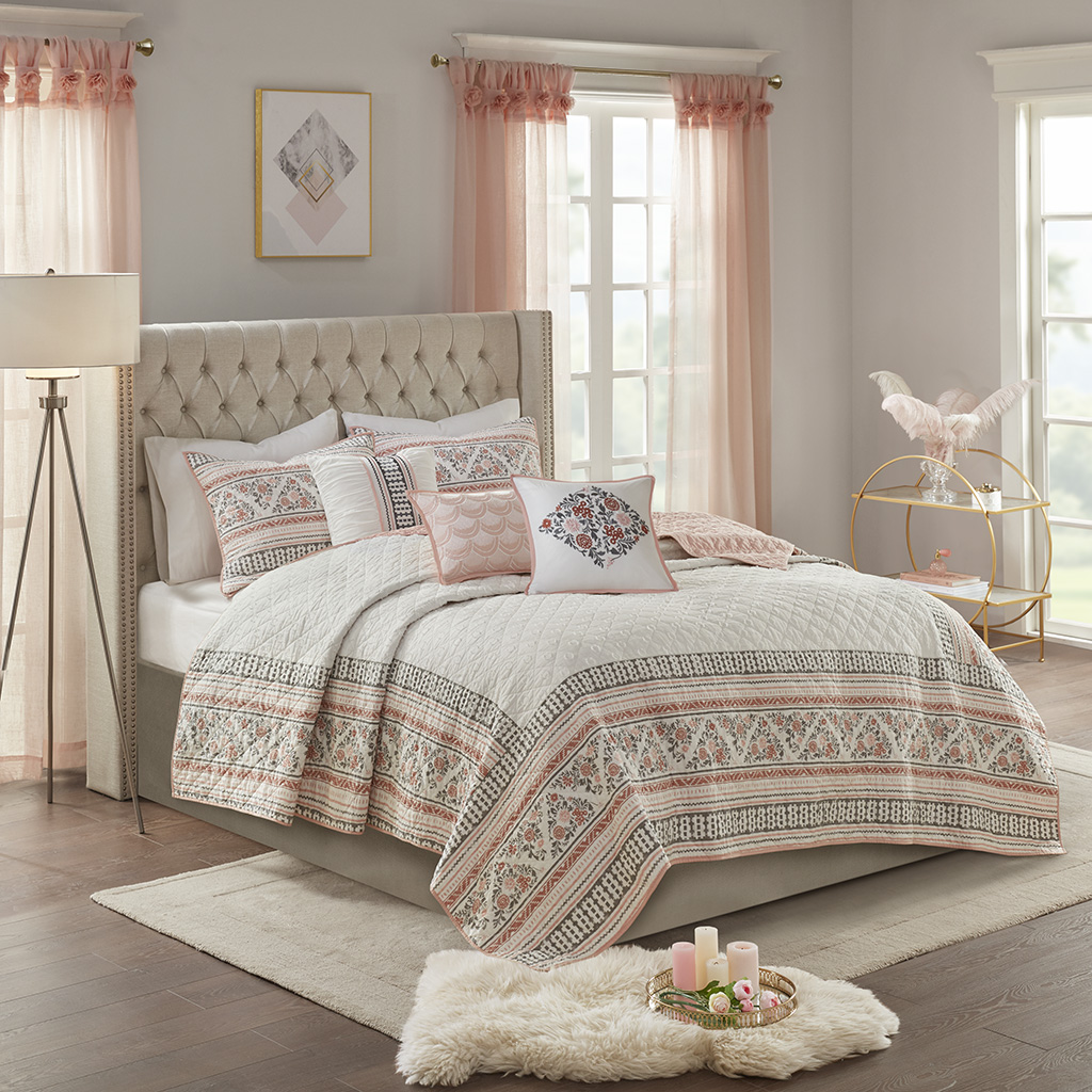 Madison Park - Moria 6 Piece Cotton Printed Clip Jacquard Reversible Coverlet Quilt Set - Dusty Rose / White - King/Cal King
