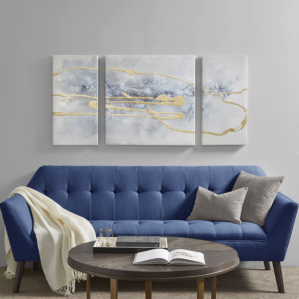 Madison Park - Blue Cosmo 3 Piece Canvas Set Hand Embellished Textured Glitter And Gold Foil - Blue/Gold - See below