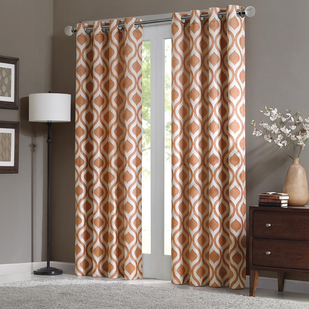 "Madison Park - Verona Window Curtain - Orange - 84"" Panel"