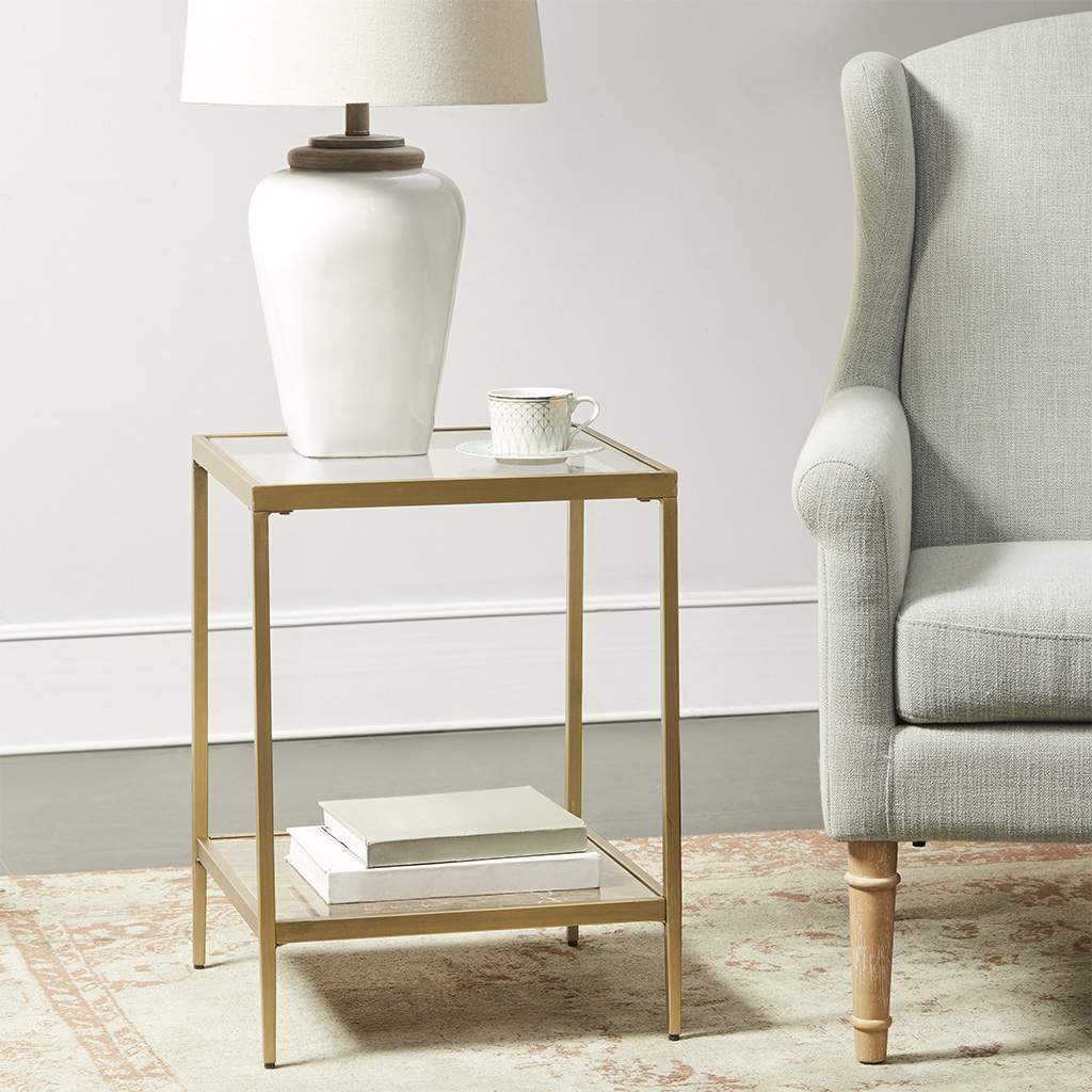 Martha Stewart - Marisol Glass Top Square Accent Table - Antique Gold - See below