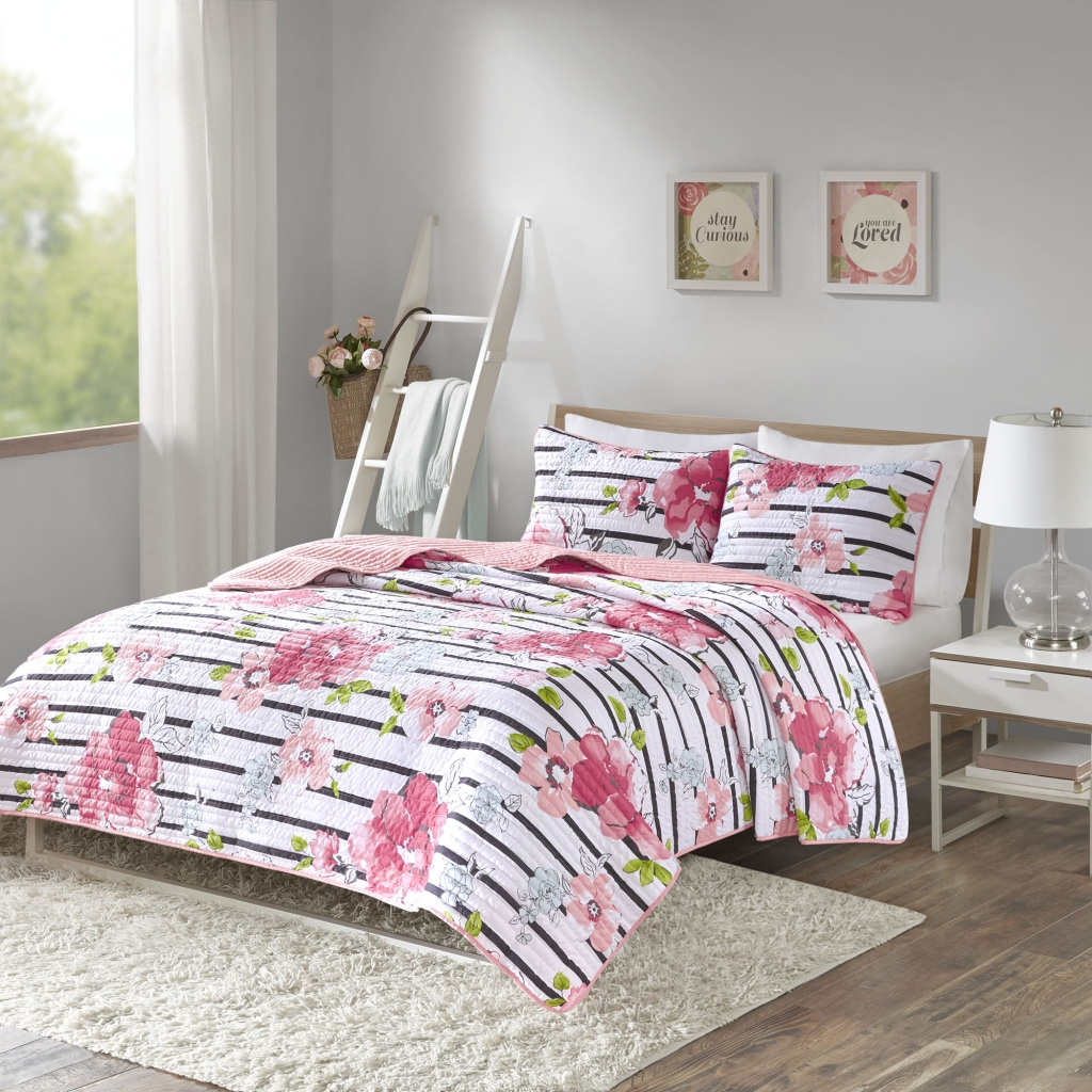 Comfort Spaces - Zoe Quilt Mini Set - Pink - Full/Queen