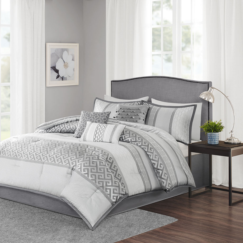 Madison Park - Bennett 7 Piece Comforter Set - Grey - King