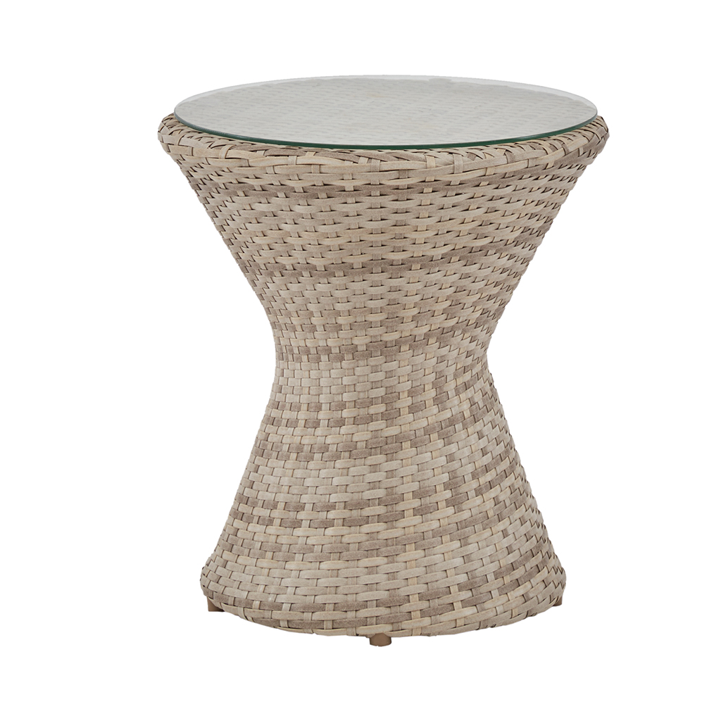 INK+IVY - Kelsey Outdoor End Table - Sand - See below Material: Aluminum Frame/Legs with Wicker, Tempered Glass Top