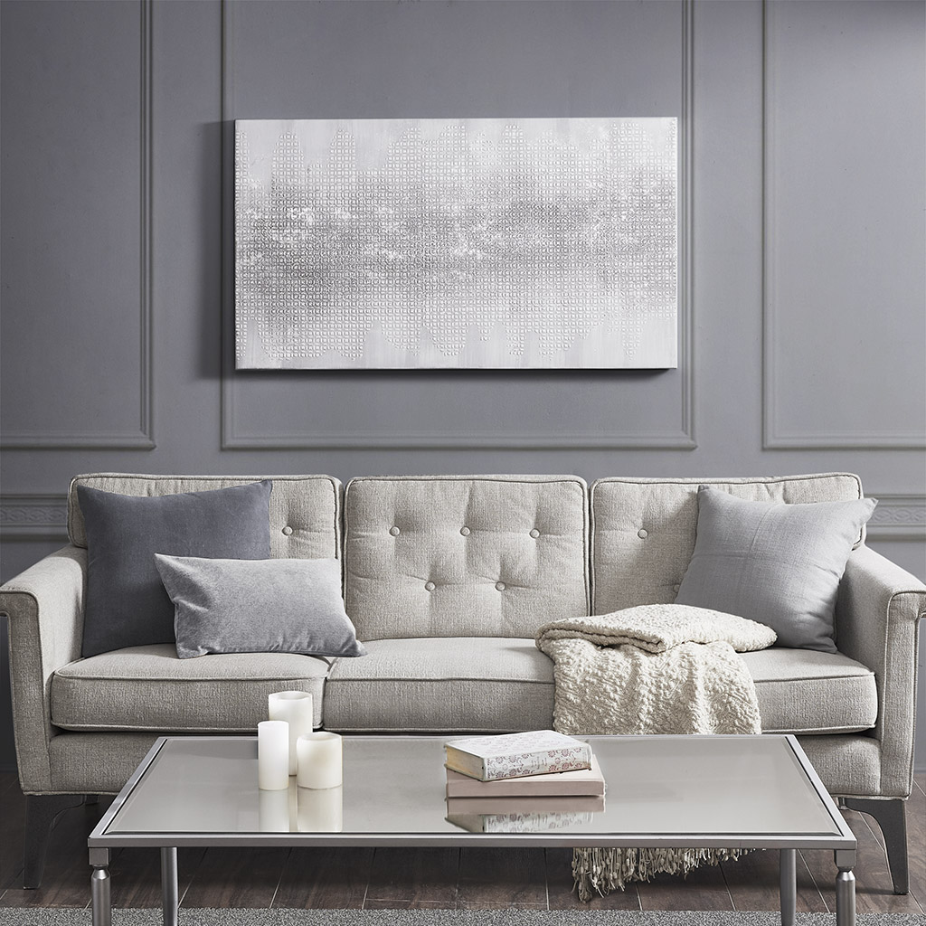 Madison Park - Silver Trellis Heavy Textured Canvas with Glitter Embellishment - Silver - See below