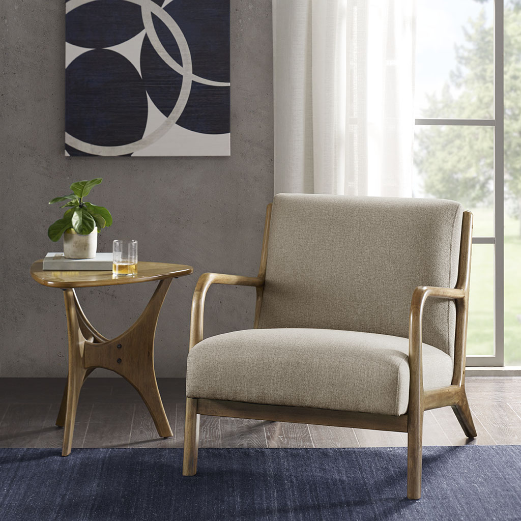 INK+IVY - Novak Lounge Chair - Taupe - See below 80%poly 20%acrylic,Rubber Solid Wood frame + Upholstery,all foam