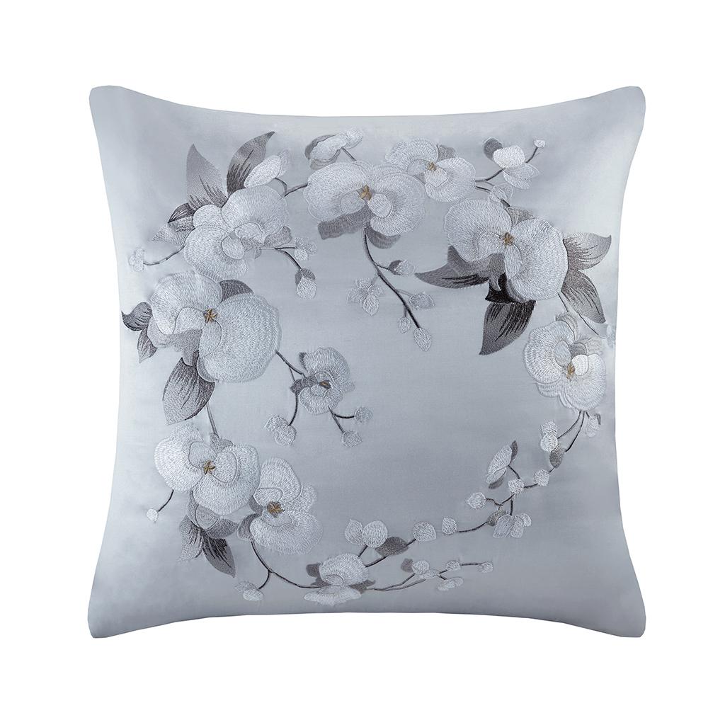 Natori - White Orchid Silk/Cotton Embroidery Euro Sham - Grey - 26x26