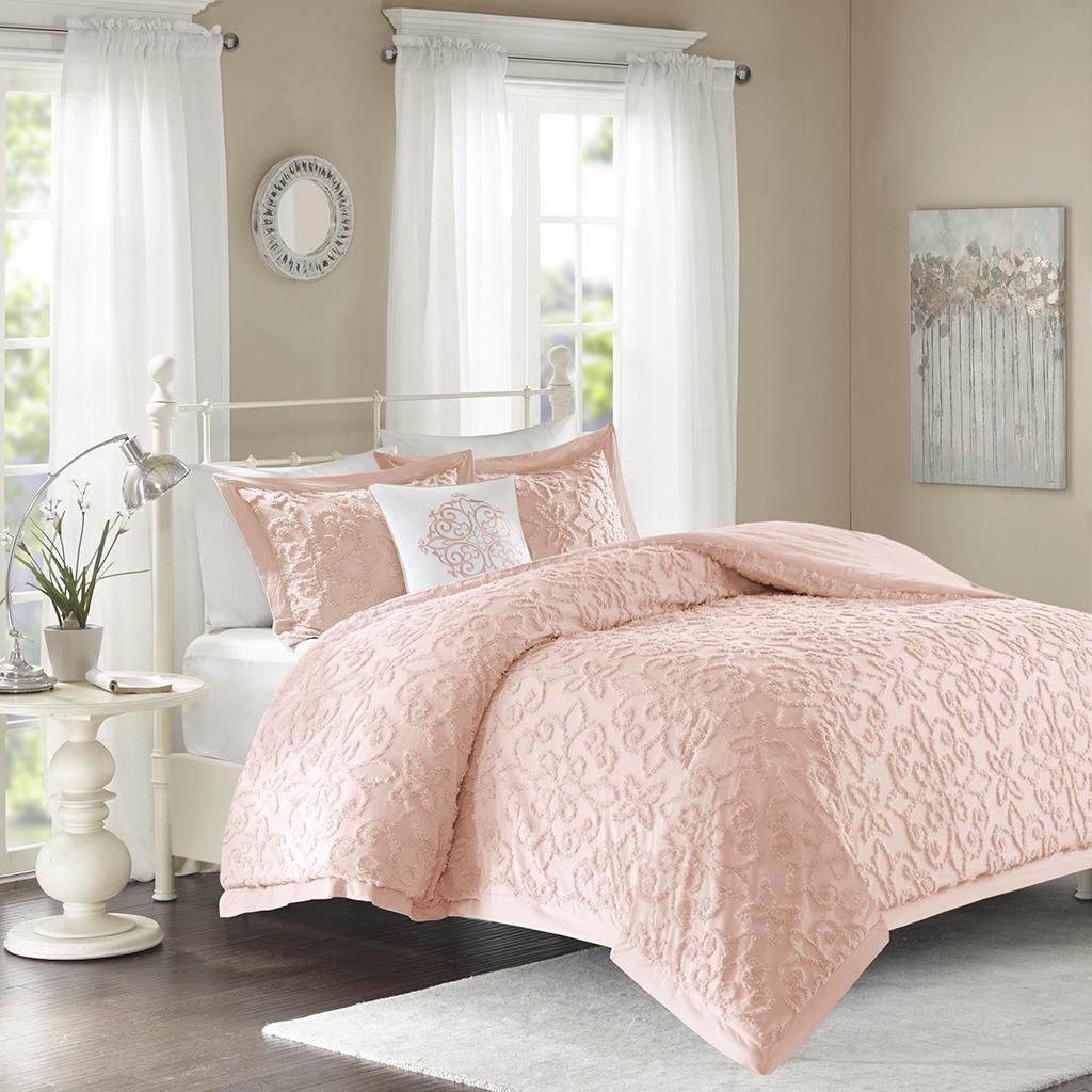 Madison Park - Sabrina 4 Piece Tufted Chenille Comforter Set - Pink - King/Cal King