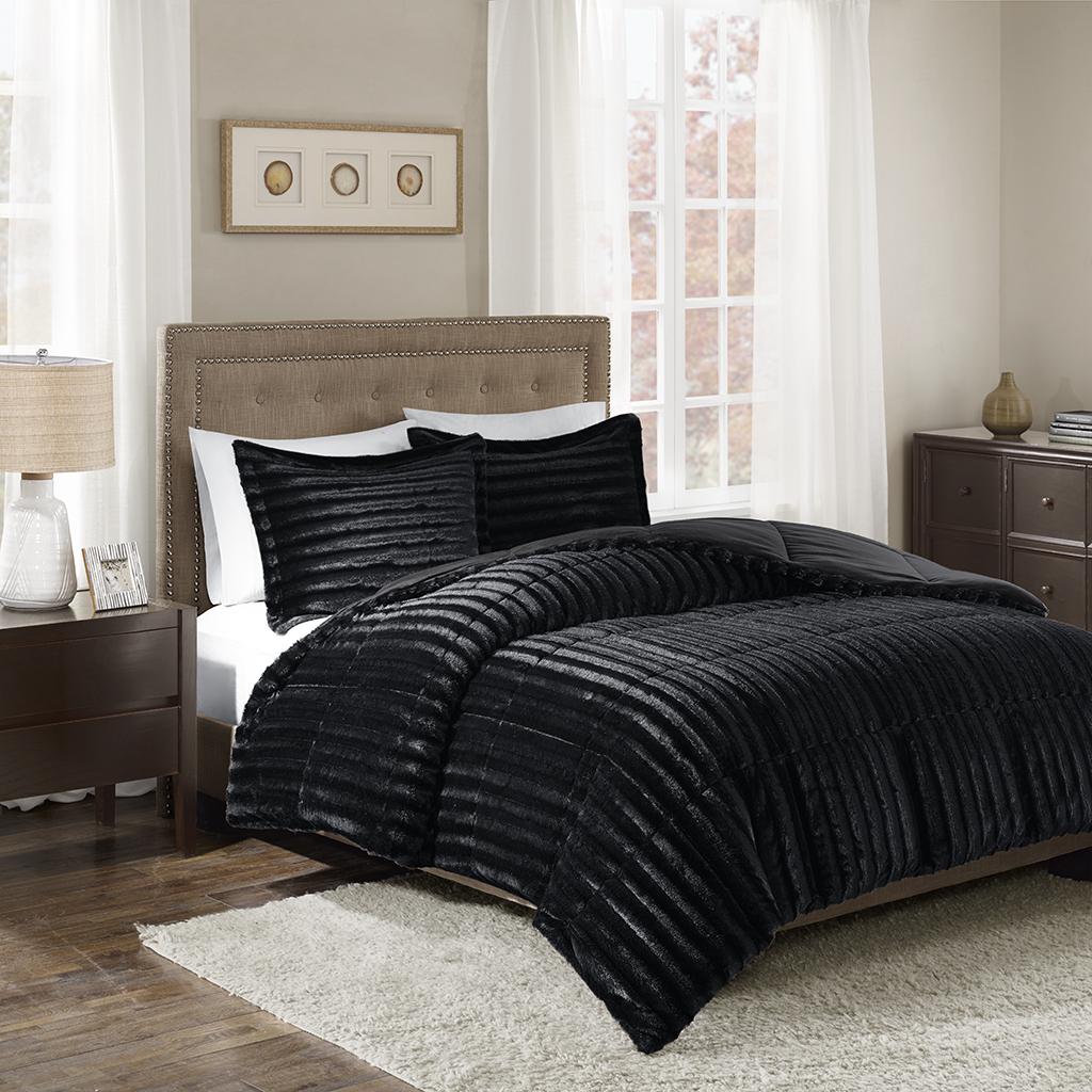 Madison Park - Duke Faux Fur 3 Piece Comforter Set - Black - Full/Queen