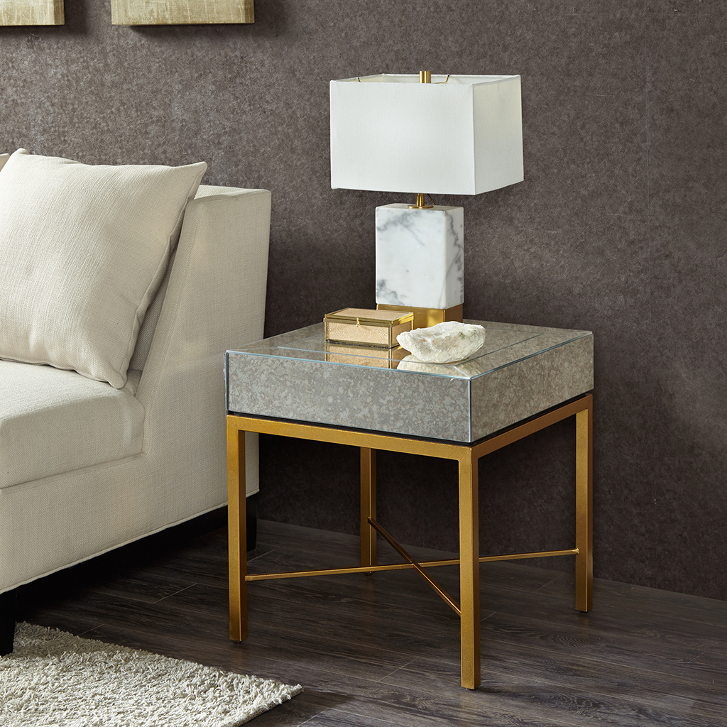 Madison Park - Myla End Table - Mirror/Gold - See below