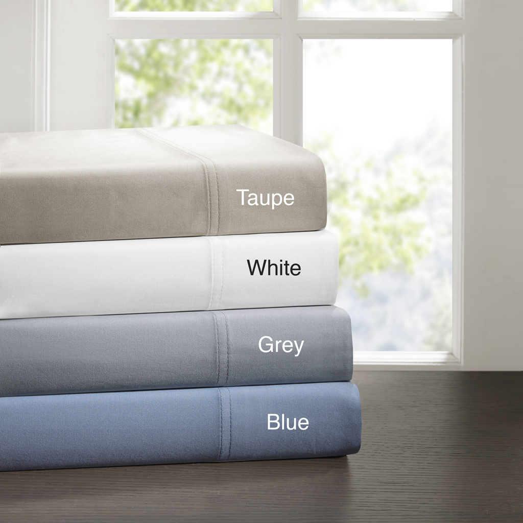 Sleep Philosophy - 320 Thread Count Cotton Tencel Sheet Set - Grey - Twin