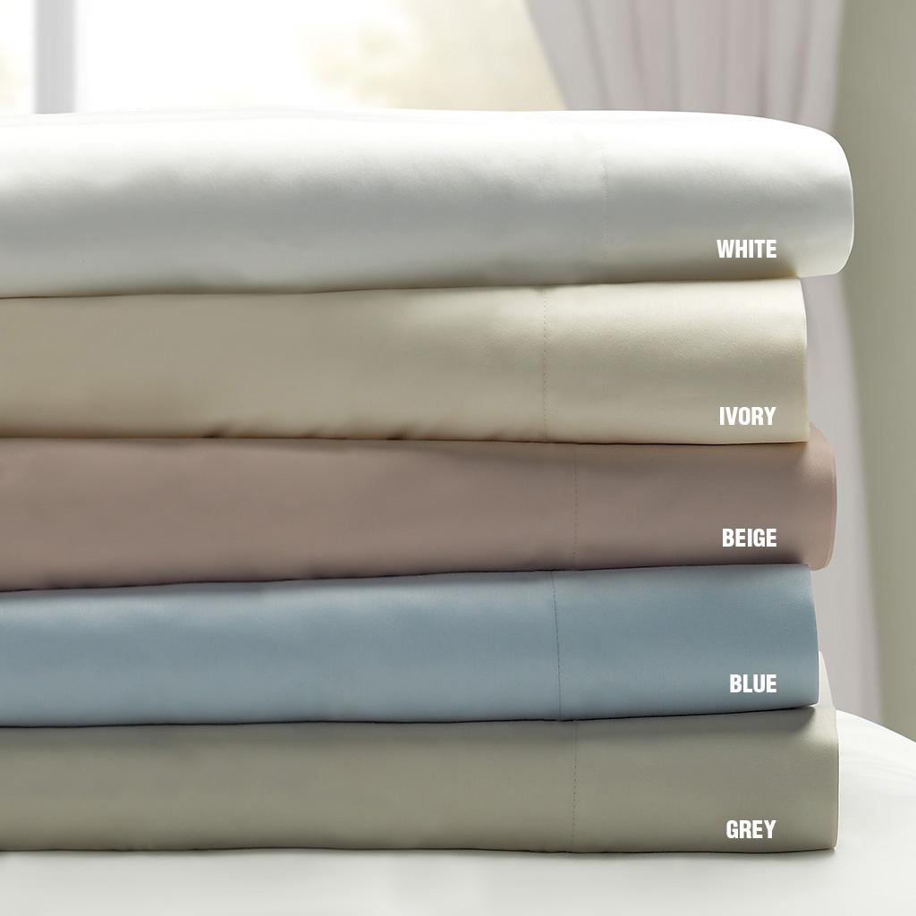 Sleep Philosophy - 300 TC Liquid Cotton Sheet Set Sheet Set - White - Full